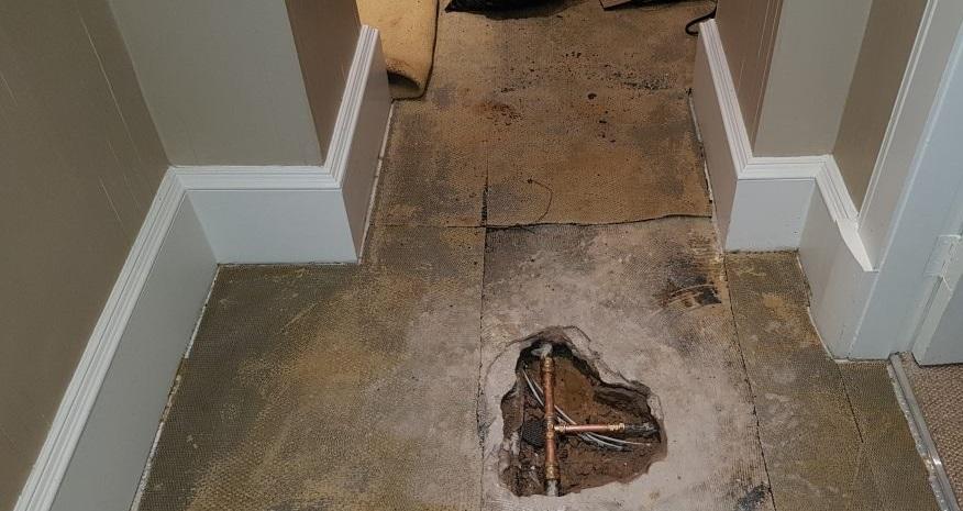 Water leak under a concrete floor